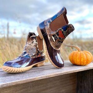 NEW Cute Vegan Material Snake embossed Duck Boots